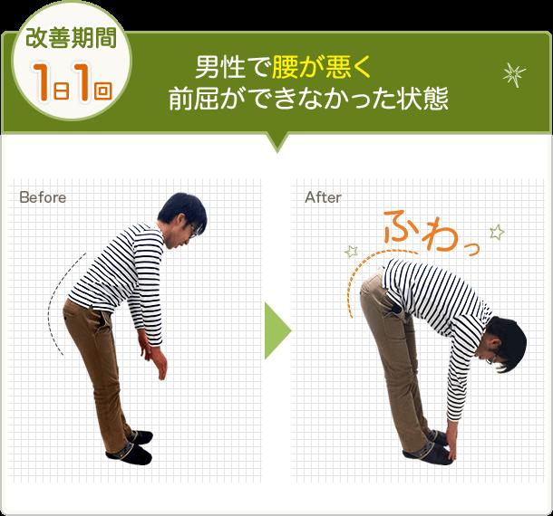 男性で腰が悪く前屈ができなかった状態